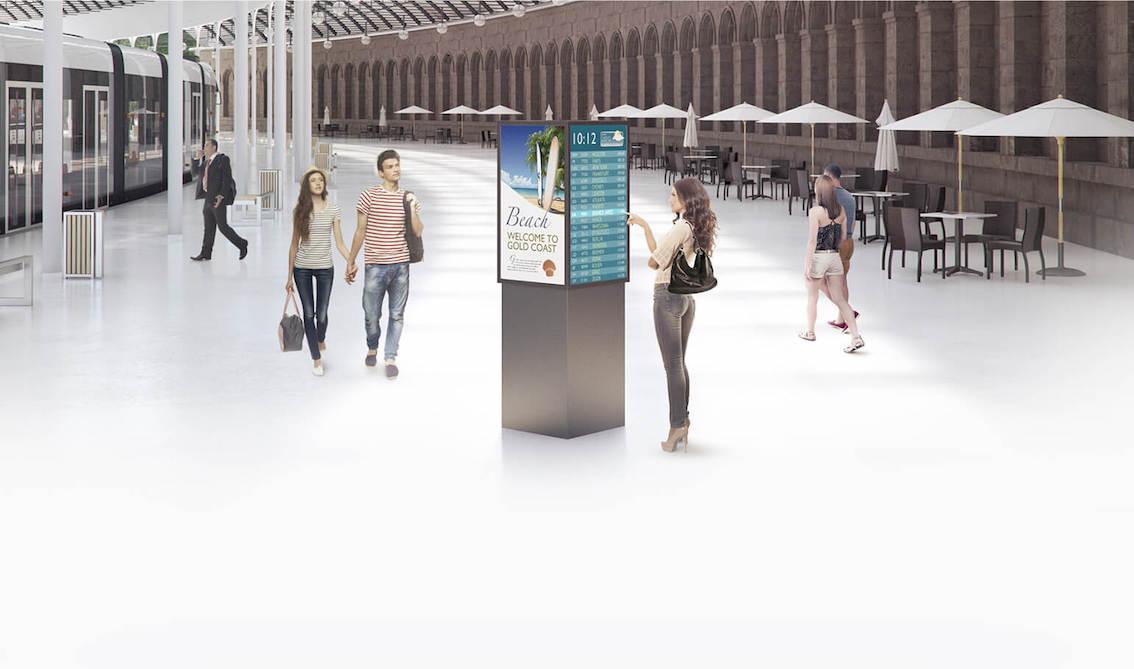 Interactive digital signage at station