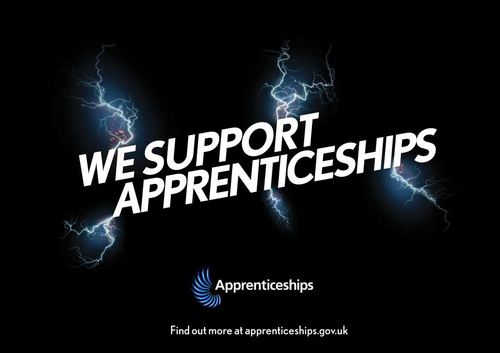 we support apprenticeships Tabletop sign
