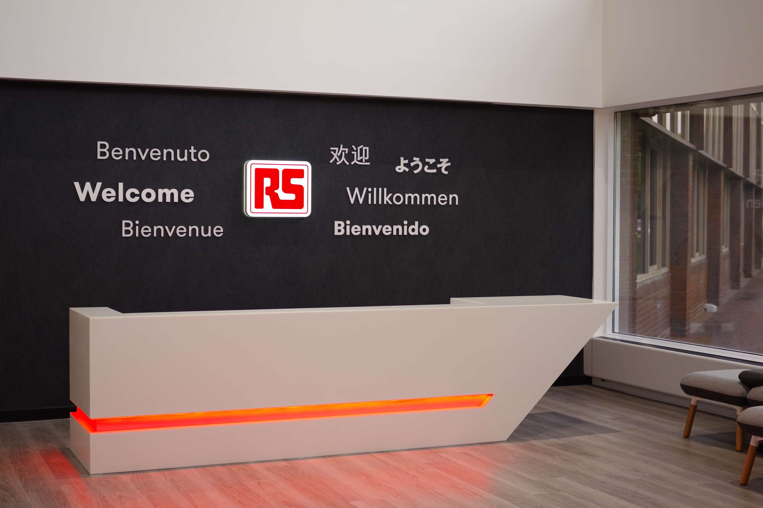 RS Components welcome desk signage